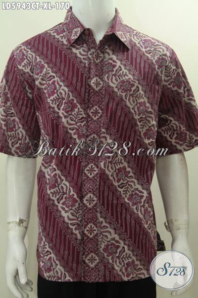 Baju Hem Batik Parang Bunga Warna Merah Keunguan, Produk Busana Batik Cowok Size XL Bahan Adem Model Lengan Pendek Tidak Pakaian Furing Proses Cap Tulis Harga 170K