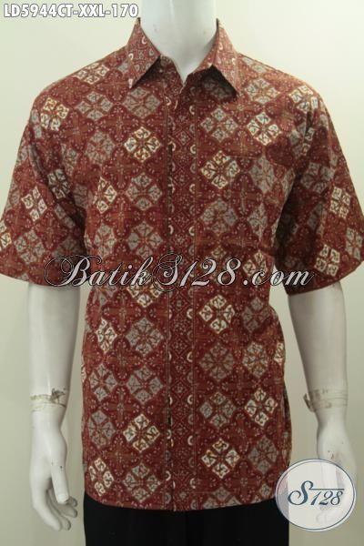 Batik Hem Istimewa Spesial Untuk Pria Gemuk, Baju Batik Jumbo 3L Kwalitas Bagus Bahan Adem Motif Berkelas Proses Cap Tulis, Size XXL