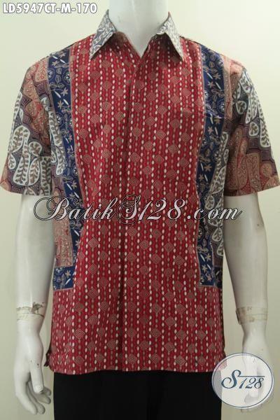 Hem Batik Trendy Motif Kombinasi Proses Cap Tulis, Baju Batik Gaul Anak Muda Untuk Hangout Dan Jalan-Jalan Tampil Modis, Size M