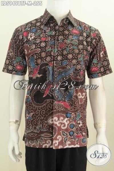 Baju Batik Cowok Motif Bagus Proses Kombinasi Tulis, Hem Batik Lengan Pendek Full Furing Bahan Adem Trend Mode Masa Kini, Size M