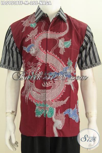 Hem Batik Merah Marun Motif Naga, Kemeja Batik Kombinasi Tulis Lengan Pendek Pake Furing Cowok Terlihat Gagah Mempesona, Size M