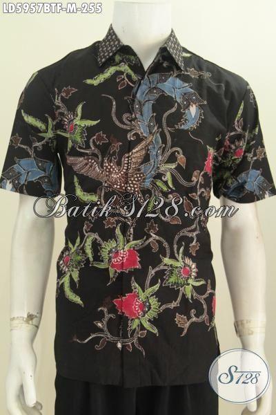 Baju Batik Hem Trendy Motif Bunga Dasar Hitam, Kemeja Batik Kombinasi Tulis Halus Lengan Pendek Pakai Furing Pas Buat Pesta, Size M