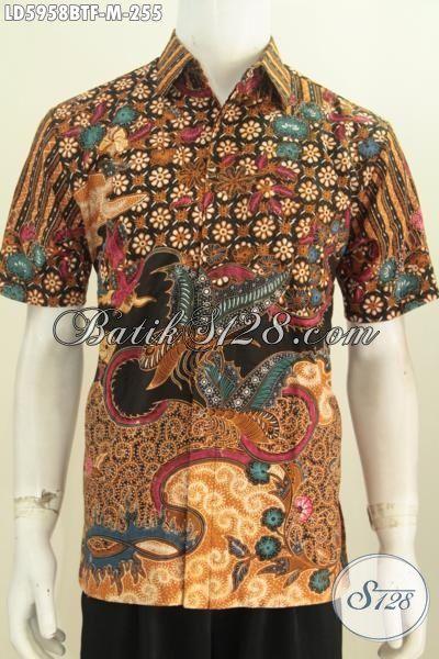 Hem Batik Paling Keren Buat Cowok, Baju Batik Modis Istimewa Proses Kombinasi Tulis Motif Mewah Model Lengan Pendek Full Furing Cocok Buat Acara Formal, Size M