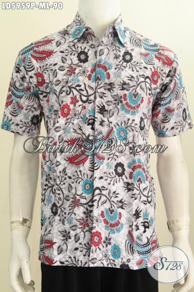 Kemeja Batik Trendy Motif Unik Proses Printing, Hem Batik Gaul Anak Muda Jaman Sekarang Model Lengan Pendek Pas Buat Hangout, Size M – L