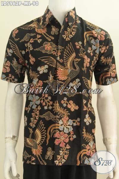 Busana Batik Modis Khas Jawa Tengah, Hem Batik Santai Motif Unik Proses Printing Dasar Hitam Elegan, Size M – L
