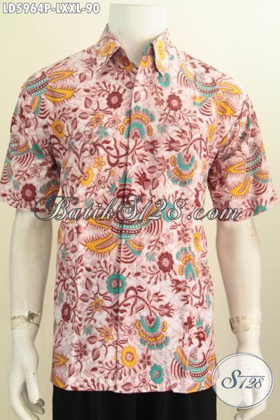 Baju Batik Cowok Bunga-Bunga Warna Cerah, Pakaian Batik Lengan Pendek Proses Printing Kwalitas Halus Untuk Tampil Lebih Keren, Size L – XXL