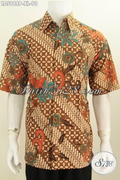 Jual Online Baju Batik Printing Motif Parang Bunga, Hem Batik Lengan Pendek Moder Klasik Istimewa Untuk Kondangan, Size XL