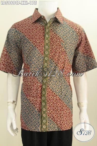 Jual Baju Batik Modis Untuk Lelaki Gemuk, Hem Batik Lengan Pendek Tanpa Furing Ukuran 3L, Pakaian Batik Cap Tulis Buatan Solo Untuk Tampil Lebih Gaya, Size XXL