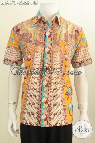 Hem Batik Klasik Proses Printing, Kemeja Kerja Motif Bagus Nan Mewah Buatan Asli Solo Untuk Lelaki Muda Terlihat Matang Dan Berwibawa, Size S – M