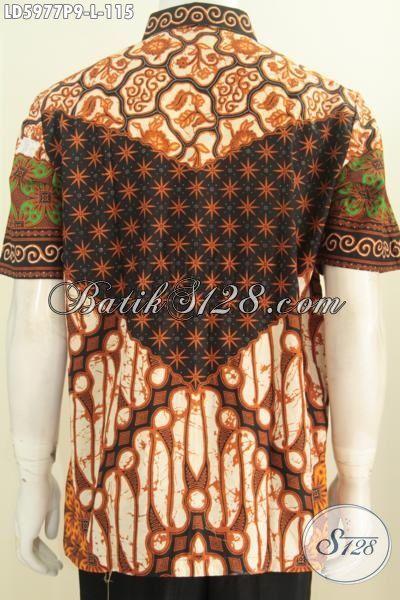 Kemeja Batik Klasik Cowok Ukuran L, Hem Batik Elegan Kwalitas Istimewa Bahan Adem Proses Printing Tampil Beda