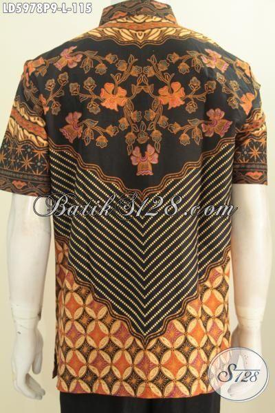 Baju Batik Cowok Lengan Pendek Motif Klasik Di Jual Online, Pakaian Batik Modis Berkelas Buatan Solo Proses Printing, Size L