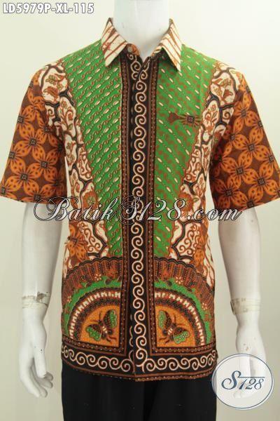 Pusat Pakaian Batik Online, Sedia Kemeja Batik Modis Buatan Solo Motif Klasik Lengan Pendek Tanpa Furing Proses Printing, Size XL