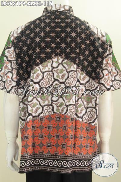 Baju Batik Mewah Harga Murah, Busana Batik Elegan Lengan Pendek Proses Printing Modis Bahan Adem Trend Pakaian Pria Kantoran Untuk Terlihat Gagah, Size XL – XXL