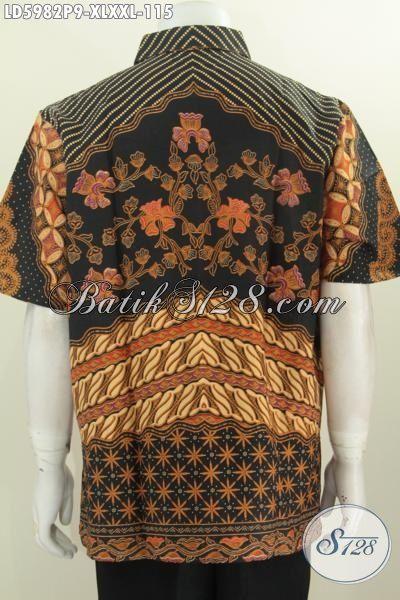 Baju Batik Lengan Pendek Motif Klasik, Busana Batik Modis Istimewa Proses Printing, Kemeja Batik Halus Buatan Solo Untuk Pria Dewasa Terlihat Berwibawa [LD5982P-XL]