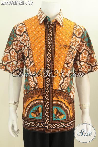 Batik Hem Istimewa Harga Biasa, Busana Batik Modis Halus Buatan Solo Indonesia, Pakaian Kerja Pria Size XL Proses Printing Tanpa Furing