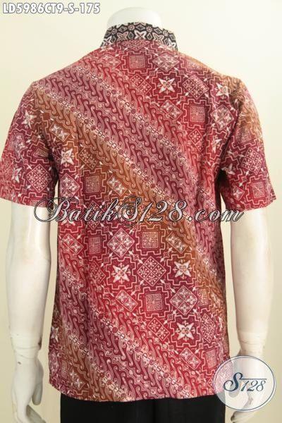 Kemeja Batik Cap Tulis Warna Mewah Motif Elegan Berkelas, Baju Kerja Ukuran S Untuk Pria Muda