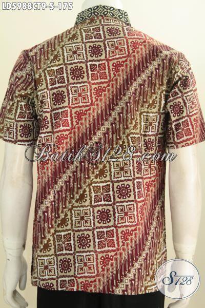 Jual Pakaian Kemeja Lengan Pendek Modis Tanpa Furing, Hem Batik Halus Proses Cap Tulis Motif Parang Kwalitas Istimewa, Size S
