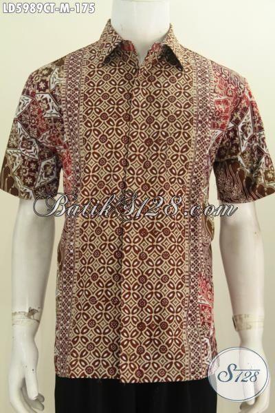 Baju Batik Solo Terkini Motif Bagus Bahan Adem Nyaman Di Pakai, Kemeha Batik Elegan Cap Tulis Lengan Pendek Tidak Pakai Furing Tetap Berkelas Dan Mewah [LD5989CT-M]