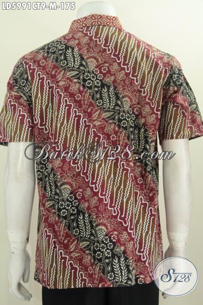 Baju Hem Modis Halus Model Lengan Pendek, Baju Batik Gaul Motif Klasik Proses Cap Tulis Ukuran M