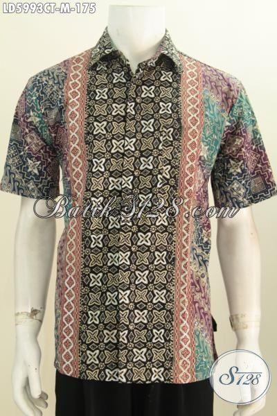 Kemeja Lengan Pendek Istimewa Berbahan Batik Cap Tulis, Busana Batik Kwlaitas Premium Bahan Halus Harga Terjangkau, Size M