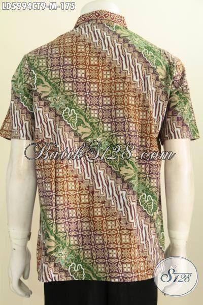 Baju Batik Modern Kwalitas Bagus Bahan Adem, Produk Kemeja Batik Lengan Pendek Proses Cap Tulis Asli Dari Solo, Size M