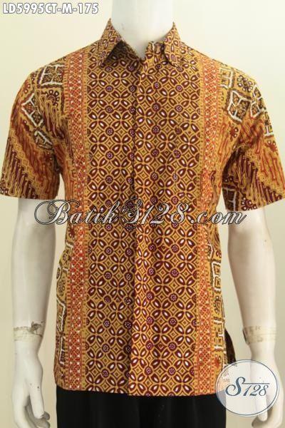 Busana Batik Istimewa Model Lengan Pendek Tidak Pakai Furing, Hem Batik Modis Motif Kombinasi Size M Cocok Untuk Kerja Kantoran, Proses Cap Tulis