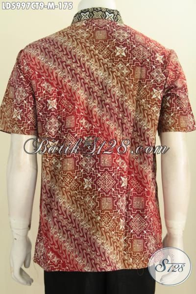 Jual Online Batik Kemeja Lengan Pendek Tanpa Furing Bahan Halus Motif Kombinasi Proses Cap Tulis Size M