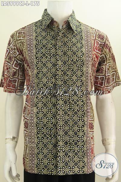 Baju Hem Lengan Pendek Modis, Pakaian Batik Kemeja Motif Kombinasi Proses Cap Tulis Buat Ke Kantor Dan Hangout, Size L