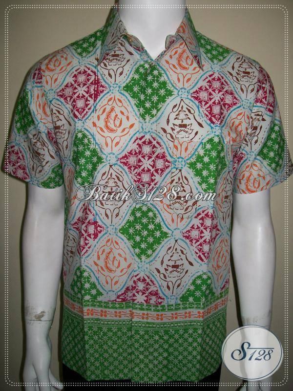 Baju Batik Pria Keren Warna Cerah Motif Klasik Wirasat Full Color [LD599CC-S]