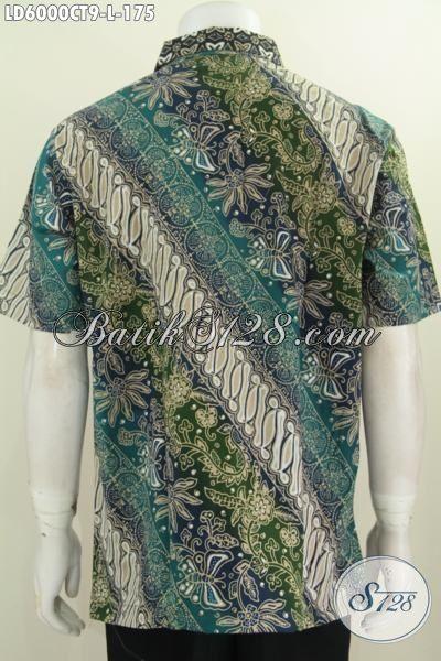 Produk Kemeja Batik Motif Belakang Parang Bunga, Baju Hem Modis Bahan Halus Dan Adem Proses Cap Tulis Ukura