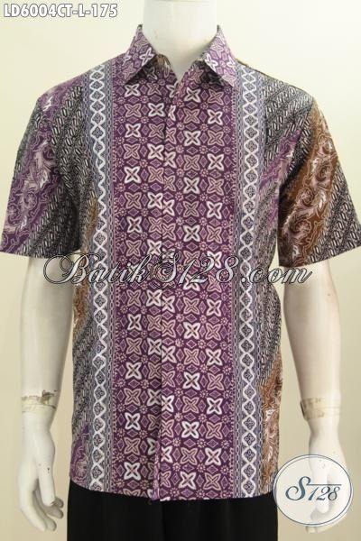 Baju Hem Lengan Pendek, Produk Terbaru Busana Batik Pria Size L Motif Kombinasi Proses Cap Tulis Cocok Untuk Kondangan