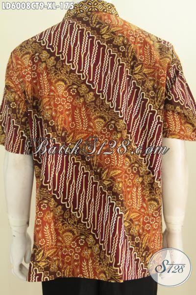Hem Batik Fashion Untuk Lelaki Karir Ukuran XL, Hem Batik Cowok Dewasa Desain Berkelas Motif Bagus Proses Cap Tulis Untuk Penampilan Lebih Istimewa, Size XL
