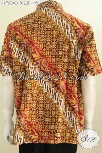 Busana Batik Modern Dan Elegan, Pakaian Batik Pria Motif Terkini, Baju Batik Cap Tulis Buatan Solo Untuk Baju Kerja Dan Acara Formal Tampil Macho Dan Berkarakter [LD6009CT-XL]