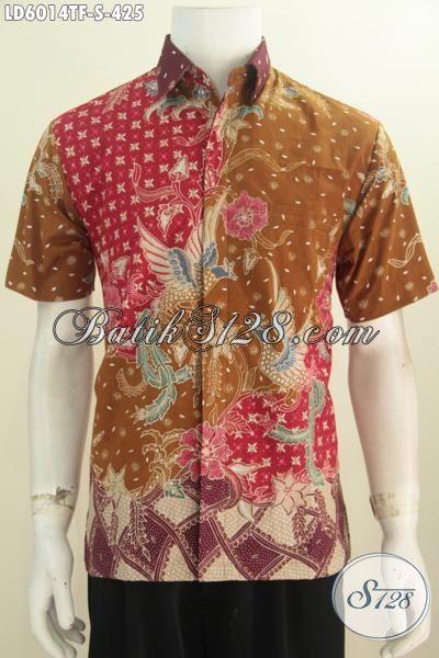 Baju Batik Premium Proses Tulis Tangan, Hem Batik Lengan Pendek Halus Motif Mewah Daleman Pake Furing Size S Untuk Pria Muda