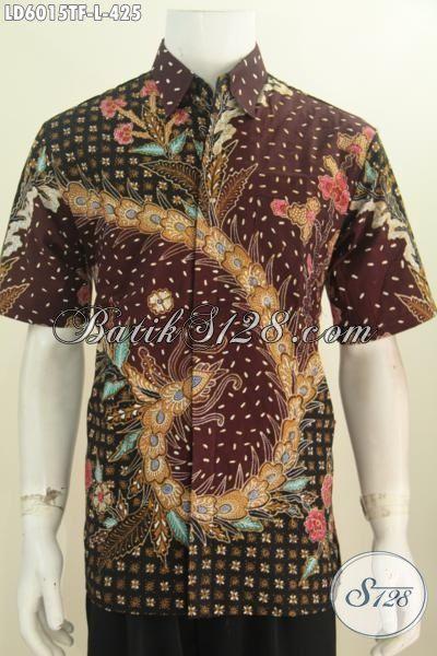 Hem Batik Size L Motif Bagus Proses Tulis Tangan, Kemeja Batik Keren Mewah Buatan Solo Daleman Pakai Furing Harga 400 Ribuan
