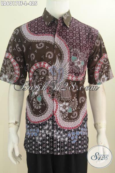 Baju Batik Premium Buatan Solo Indonesia, Pakaian Baitk ELegan Halus Lengan Pendek Bahan Adem Proses Tulis Tangan Harga 425K, Size L