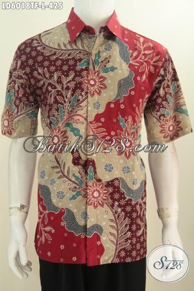 Kemeja Batik Kerja Motif Mewah Berbahan Halus Proses Tulis Tangan, Produk Busana Batik Premium Lengan Pendek Pakai Furing Kwalitas Istimewa Tampil Lebih Mempesona, Size L