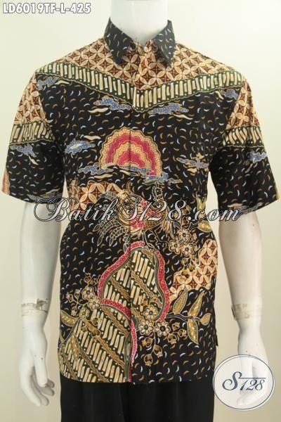Jual Online Hem Batik Lengan Pendek Mewah, Baju Batik Mahal Buatan Solo Daleman Full Furing, Produk Pakaian Batik Tulis Istimewa Cocok Untuk Kerja Dan Rapat [LD6019TF-L]