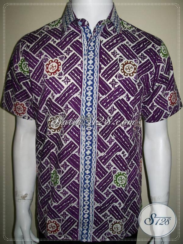 Kemeja Batik Murah Lengan Pendek Warna Ungu, Kualitas Bagus, Jahitan Rapih [LD601CC-M]