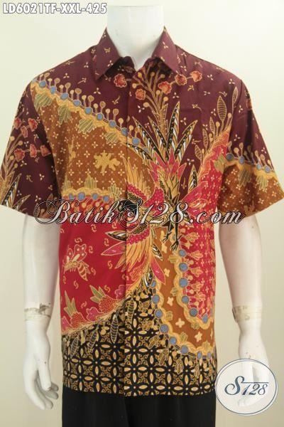 Baju Batik premium 3L, Pakaian Batik Modis Lengan Pendek Kwalitas Istimewa Berbahan Halus Proses Tulis Tangan Di Lengkapi Daleman Full Furing Bikin Penampilan Lebih Istimewa, Size XXL