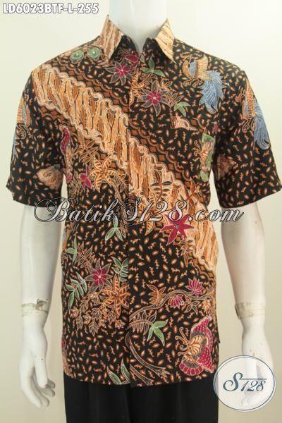 Kemeja Batik Halus Motif Mewah Model Lengan Pendek Full Furing, Produk Busana Batik ELegan Kwalitas Istimewa Proses Kombinasi Tulis Ukuran L
