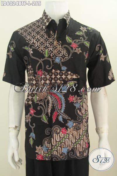 Jual Busana Batik Cowok Ukuran L, Hem Batik Istimewa Buatan Solo Proses Kombinasi Tulis Desain Mewah Lengan Pendek Full Furing, Size L