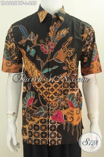 Baju Kemeja Batik Lengan Pendek Ukuran L, Hem Batik Halus Motif Mewah Proses Kombinasi Tulis Daleman Full Furing Bikin Pria Terlihat Istimewa