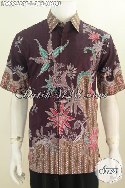 Produk Kemeja Batik Elegan Modis Mewah Halus, Baju Batik Keren Lengan Pendek Size L Proses Kombinasi Tulis Buatan Solo Asli