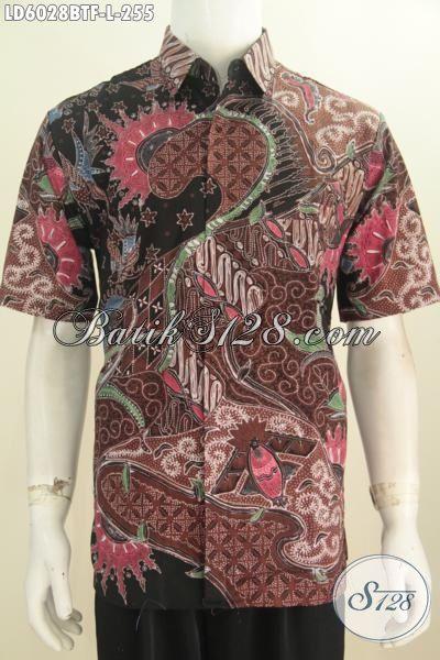 Baju Batik Pria Terbaru, Hadir Dengan Motif Mewah Model Lengan Pendek Full Furing Proses Kombinasi Tulis, Busana Batik Istimewa Buatan Solo Tampil Lebih Berkelas, Size S