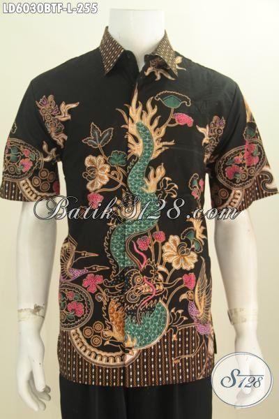 Hem Batik Pria Motif Naga Harga 255K, Baju Batik Lengan Pendek Modis Full Furing Berbahan Adem Kwalitas Istimewa Untuk Tampil Terlihat Gagah Dan Mempesona, Size L