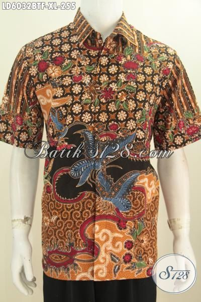 Baju Hem Baitk Halus Motif Mewah, Produk Kemeja Batik Elegan Kombinasi Tulis Lengan Pendek Full Furing Bahan Adem Trend Mode 2016, Size XL