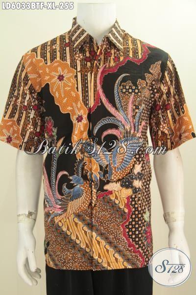 Produk Pakaian Batik Elegan Halus Proses Kombinasi Tulis, Baju Batik Istimewa Buatan Solo Berbahan Adem Model Lengan Pendek Ukuran XL Full Furing
