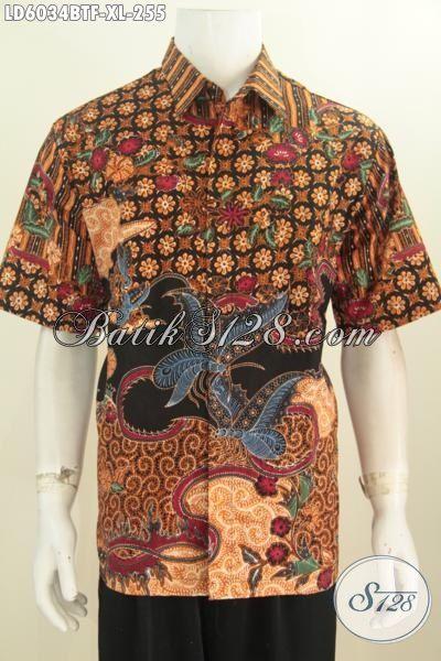 Hem Batik Bagus Berbahan Halus Lengan Pendek Size XL, Baju Batik Elegan Berkelas Kwalitas Istimewa Motif Mewah Proses Kombinasi Tulis Tangan Asli Buatan Solo Indonesia