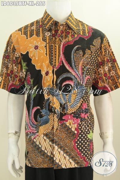 Busana Batik Lengan Pendek Cowok Masa Kini, Bajua Batik Berkelas Motif Mewah Kombinasi Tulis Daleman Full Furing Tampil Semakin Istimewa, Size XL